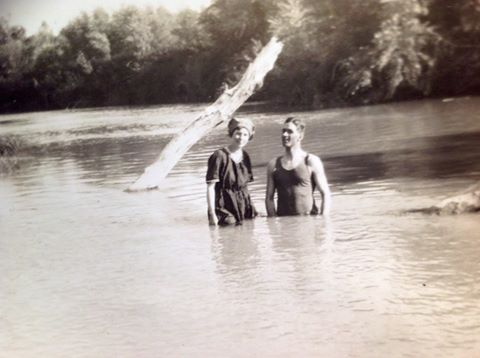 During yesterday's Jordan River production, I showed this photo of my parents on their honeymoon in 1925, bathing in the Jordan River.